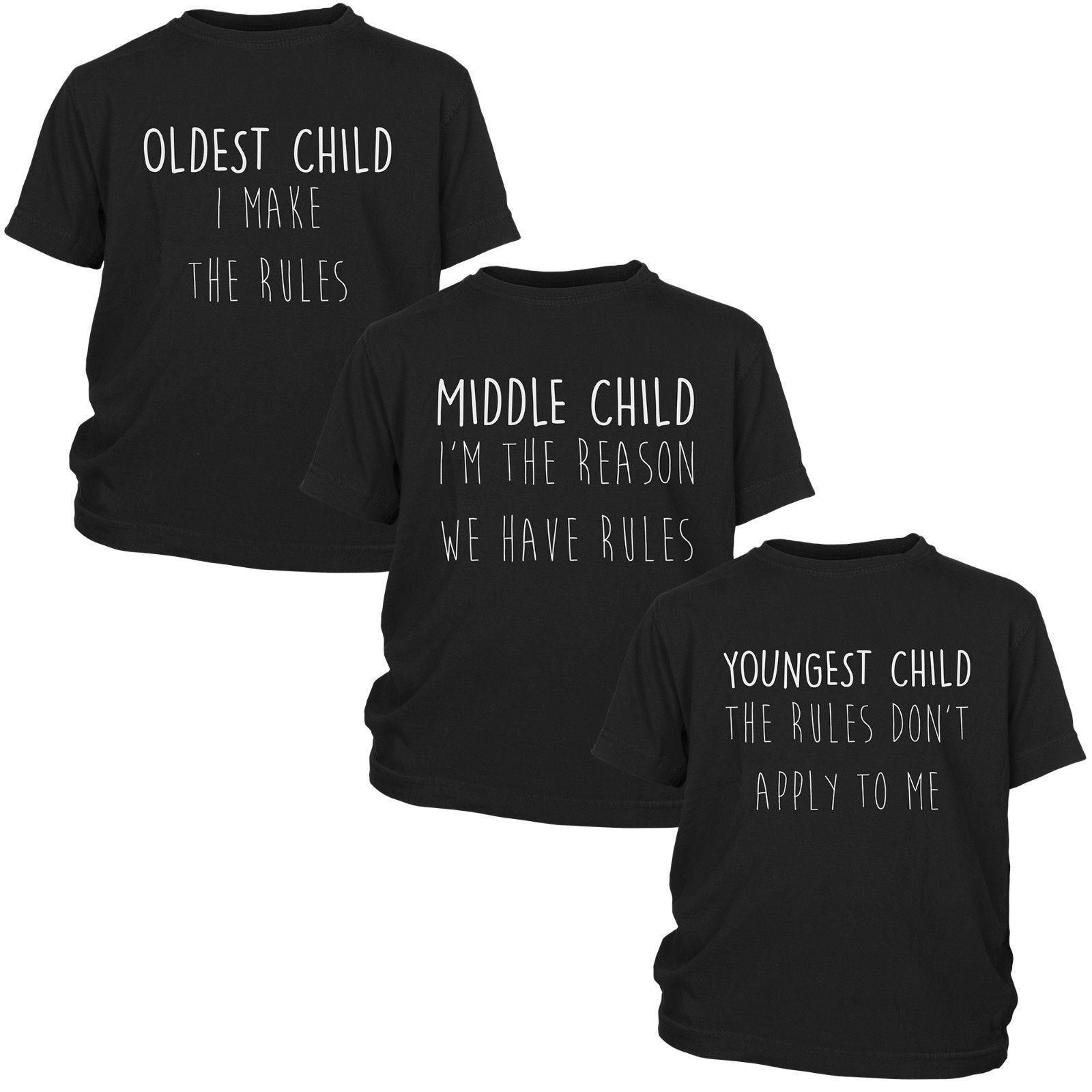47751ca18 New Kids Family Rules T Shirts 3 Pack Youngest Middle Oldest Child  Childrens Top