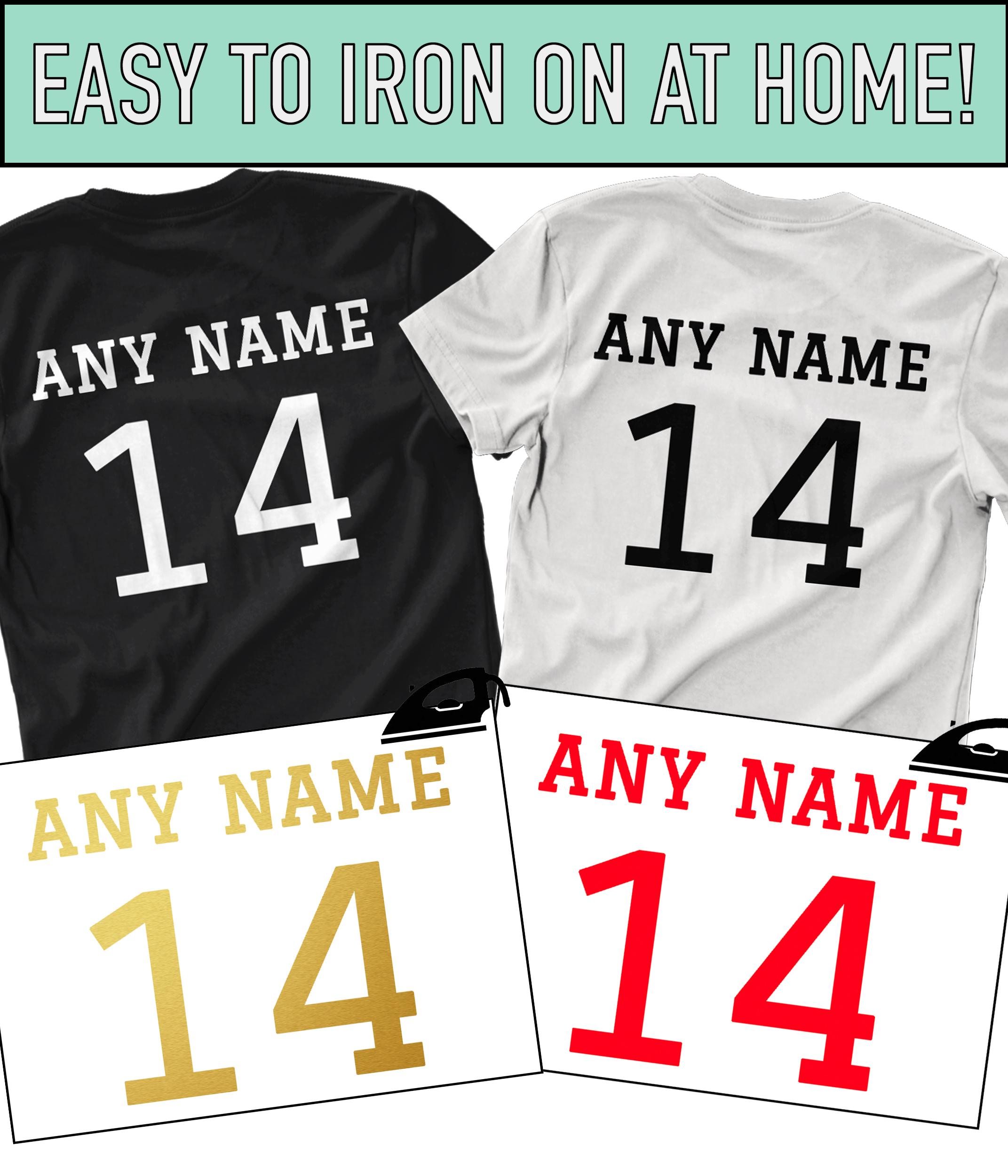 3e4333b755c Custom Name   Number Iron On T Shirt Transfer Team Football Sports Style  Vinyl