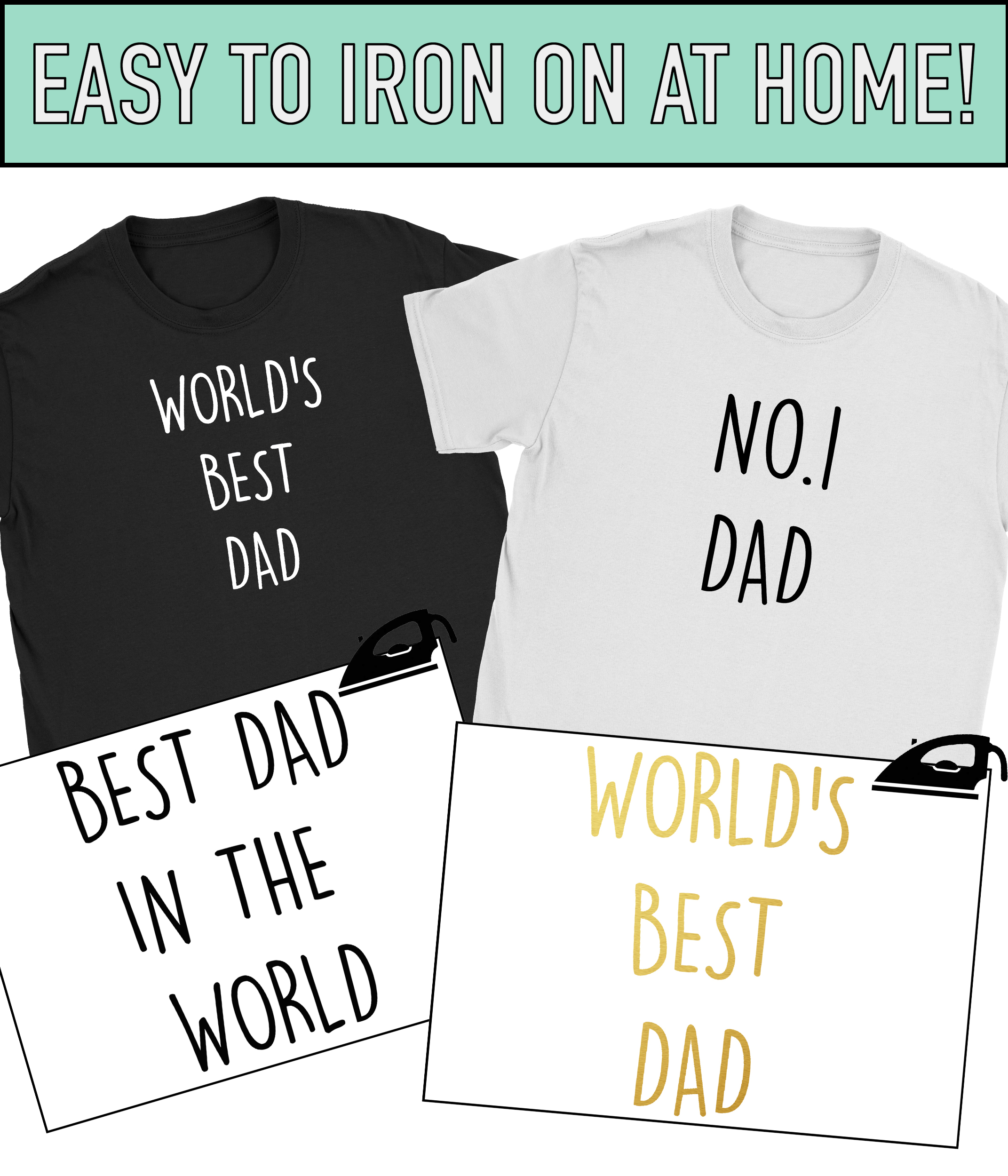 Details About Worlds Best Daddy Dad Iron On T Shirt Transfer Fathers Day Birthday Gift Vinyl