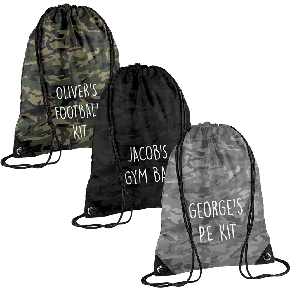 Personalised Camo PE Kit School Boys Girls Gym Backpack Drawstring Bag