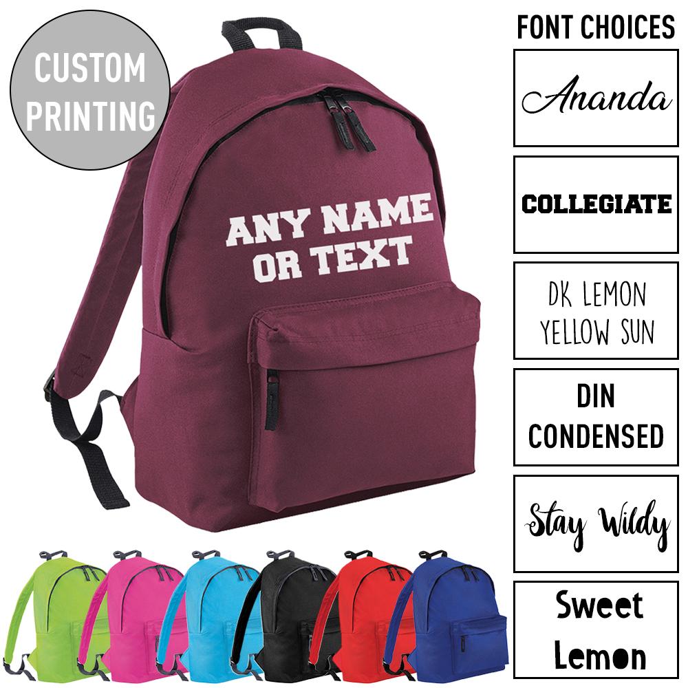 Printed Customised Rucksack Adults Bag Kids School Personalised Name Backpack