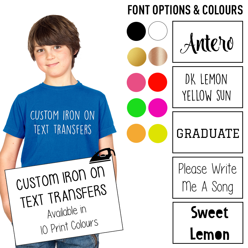 313a387c8c676 Details about Custom Iron On T Shirt Transfer Personalised Any Text Your  Name Childrens Vinyl