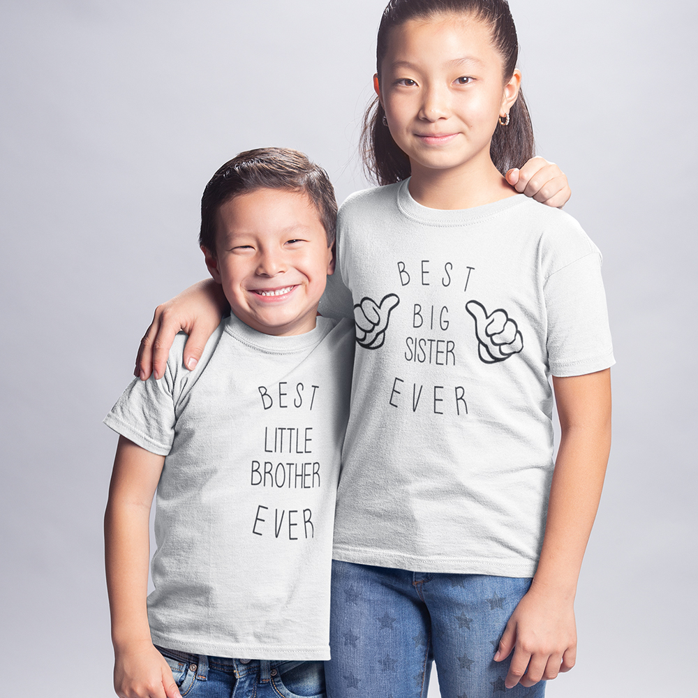 WORLDS BEST LITTLE BROTHER SISTER iron on t-shirt transfers a5 a4