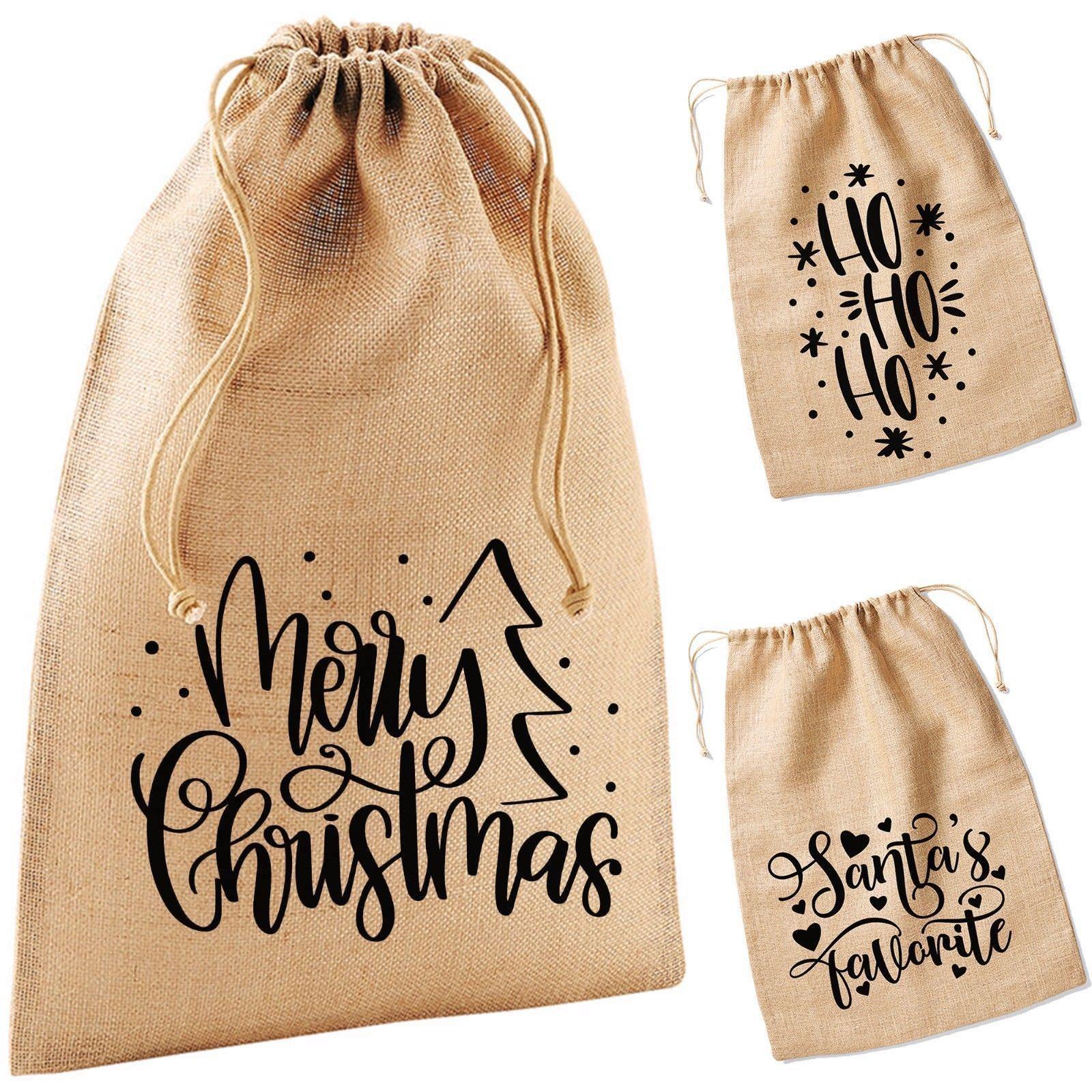 Vinatge Style Hessian Christmas Bottle Gift Bag Fabric Drawstring Novelty Jute