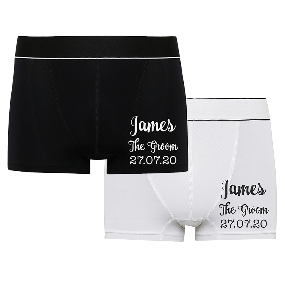 Personalised Wedding Day Boxer Shorts Groom Husband Custom Print Gift Mr Mrs New