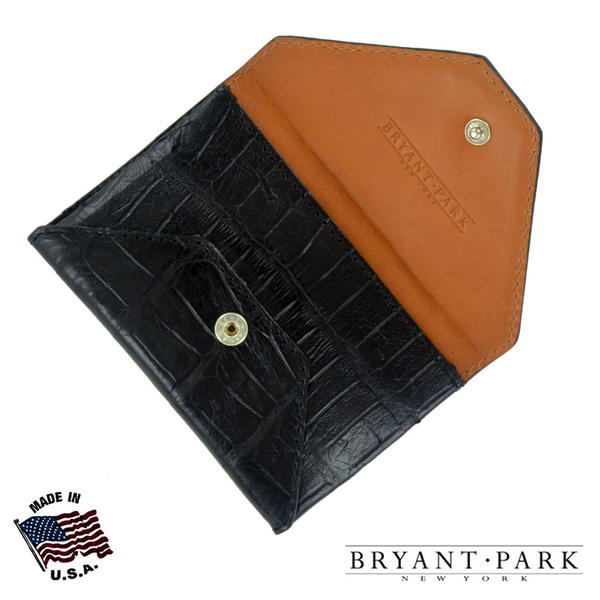 Black Genuine Alligator Mens Envelope Wallet Made in USA by Bryant Park