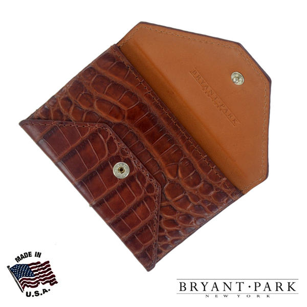 Cognac Genuine Alligator Mens Envelope Wallet Made in USA by Bryant Park