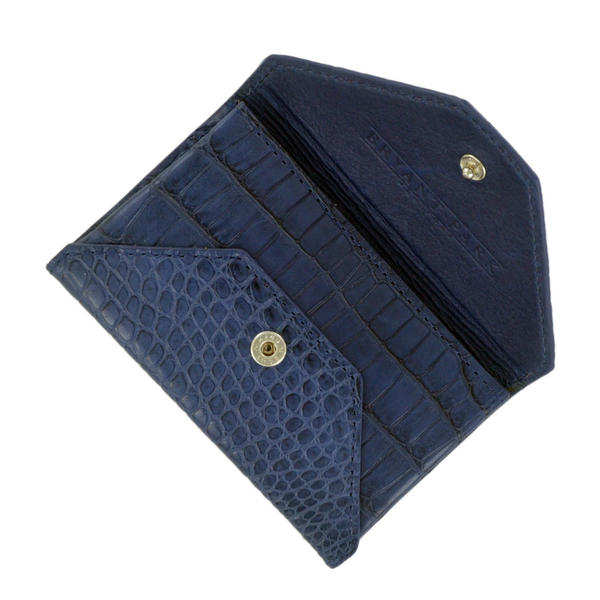 Navy Blue Genuine Alligator Mens Envelope Wallet Made in USA by Bryant Park