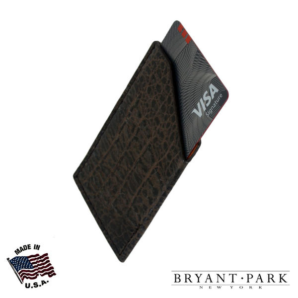 Bryant Park Mens Brown Slim Card Case Crocodile Grain Bambino Leather