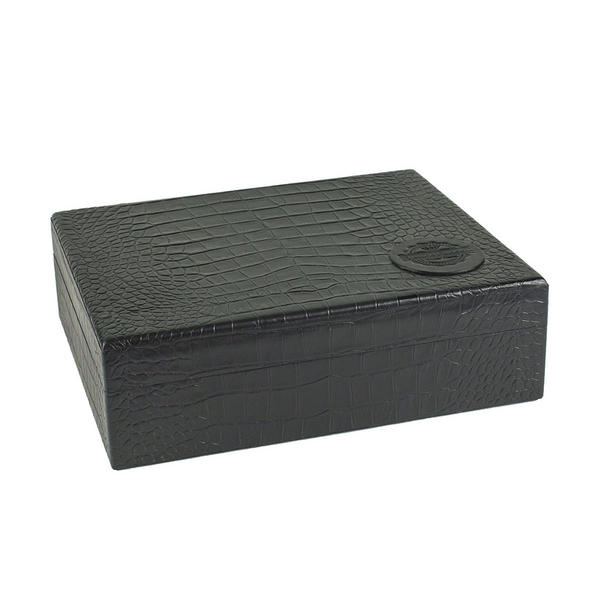 Tampa Fuego 20 Cigar Crocodile Grain Leather Humidor Cedar Box Black