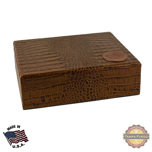 Tampa Fuego 20 Cigar Crocodile Grain Leather Humidor Cedar Box Cognac