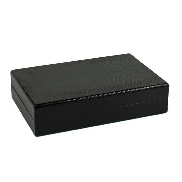 Tampa Fuego 5 Cigar Genuine Lizard Humidor Cedar Box Black Made in USA