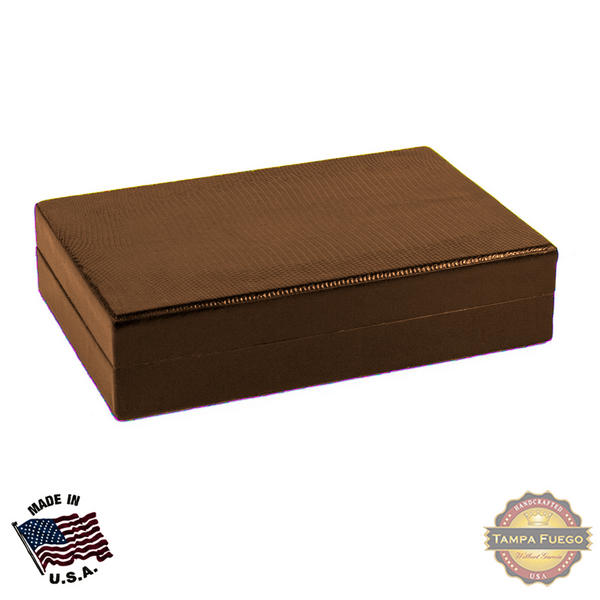 Tampa Fuego 5 Cigar Genuine Lizard Humidor Cedar Box Cognac Made in USA