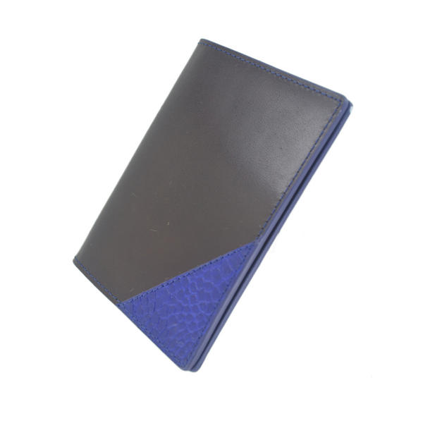 Bryant Park Leather Passport Holder Case Genuine Alligator Corner Black Blue