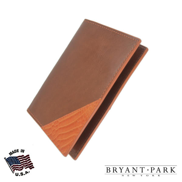 Bryant Park Leather Passport Holder Case Genuine Alligator Corner Cognac Orange
