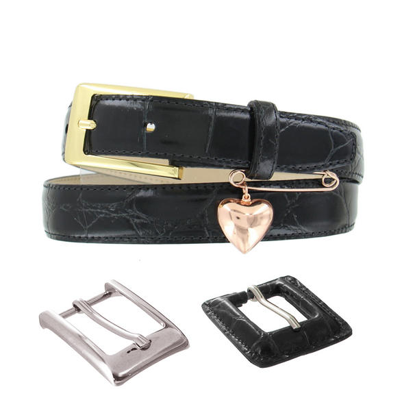 Heart Pin Black Leather Croco Grain Ladies Belt 3 Interchangeable Buckles 30-34""