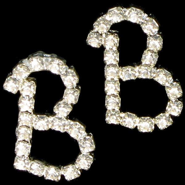 "Letter ""B"" Crystal Rhinestone Pierced Initial Earrings 3/4"""