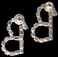 "Letter ""B"" Crystal Rhinestone Pierced Initial Earrings 3/4"" Thumbnail 2"
