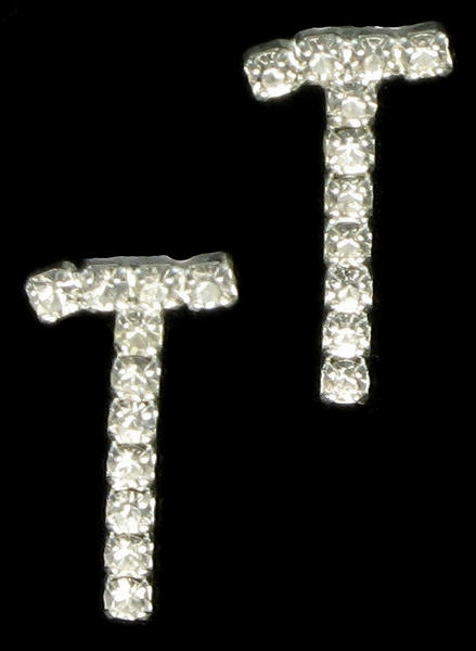 "Letter ""T"" Crystal Rhinestone Pierced Initial Earrings 3/4"""