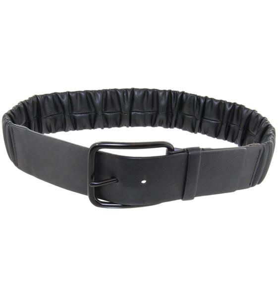 Retro Black Elastic Cinch Stretch Waist Belt Size Medium
