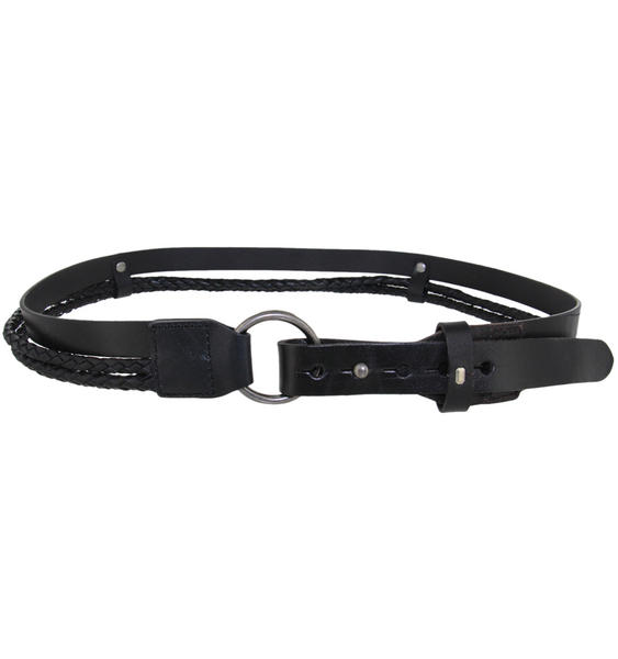 "Trail Master Black Genuine Leather Braided Bolo Cord  Belt Size Large Fits 41""-4"
