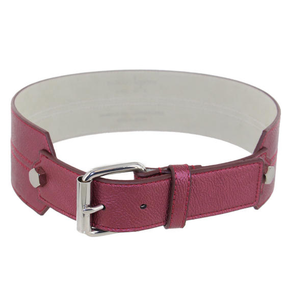 Nanette Lepore Metallic Cranberry Wide Belt Size Medium Fits 29-31""