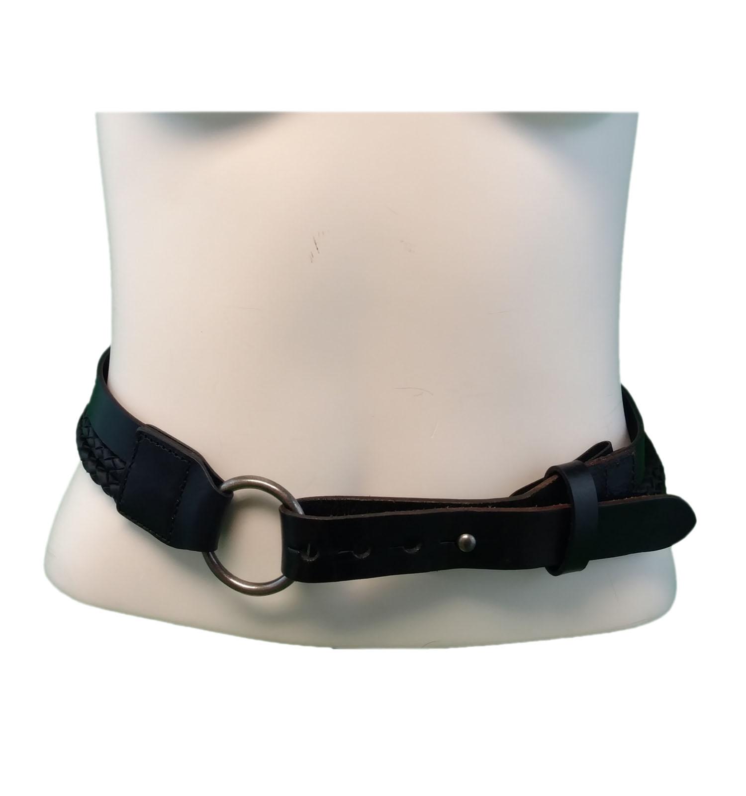 0edd056e016 Trail Master Black Genuine Leather Braided Bolo Cord Belt Size Small Fits  34