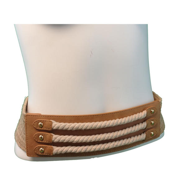 "Via Spiga Nautical Rope Tan Hemp Stretch Belt Size Large  33"" + Stretch"