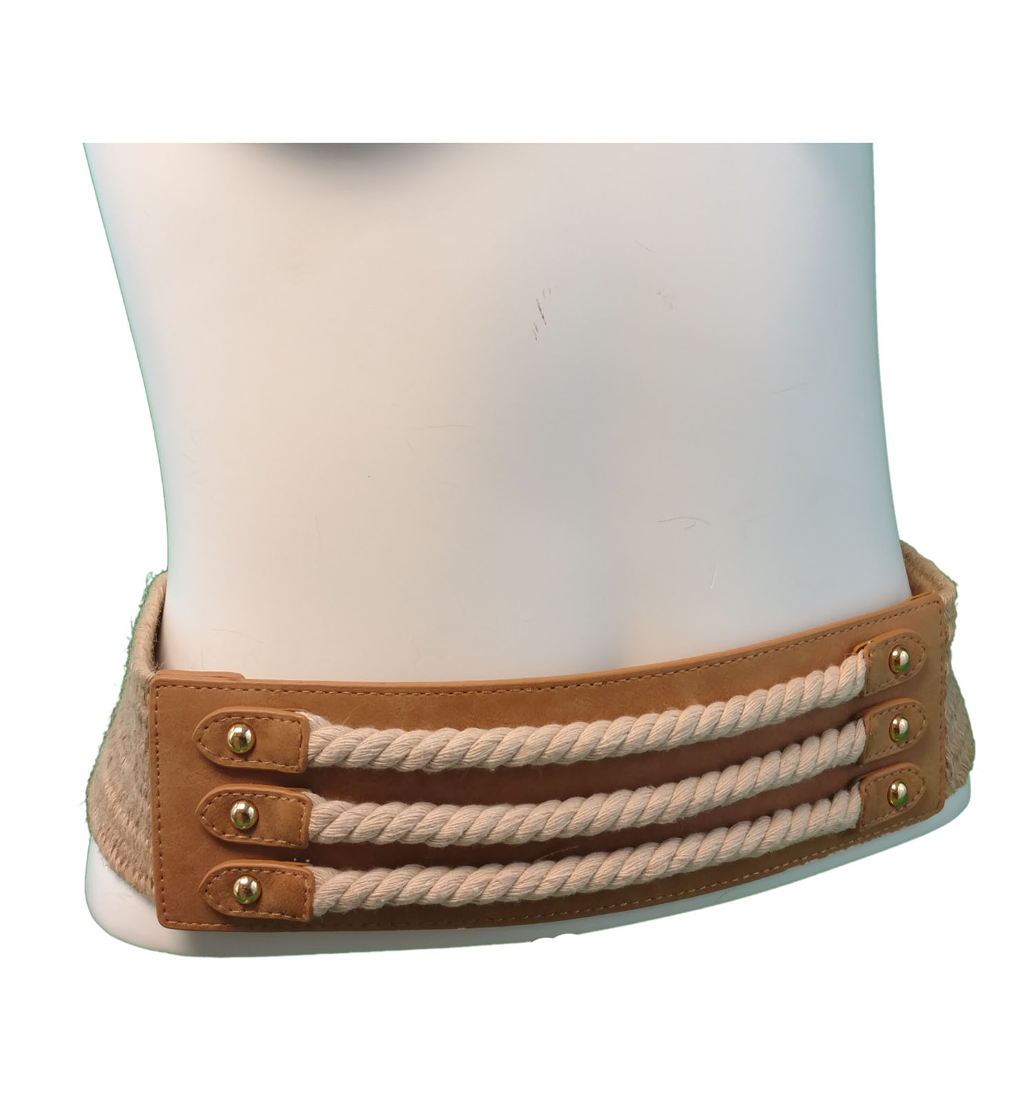 67e61fee3 Via Spiga Nautical Rope Tan Hemp Stretch Belt Size Extra Large XL 35