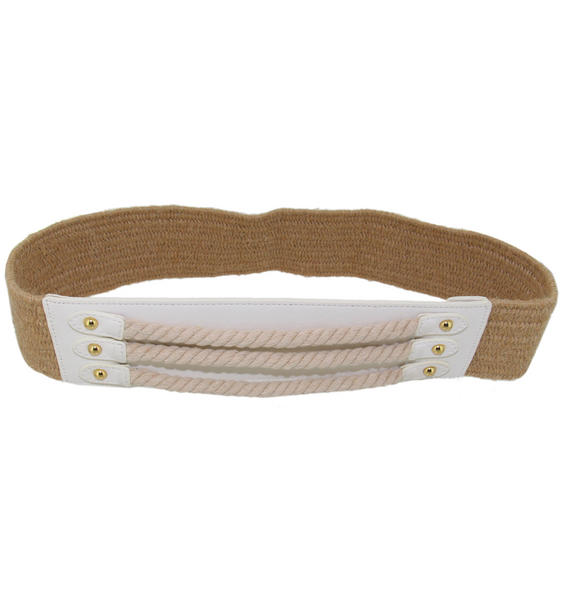 "Via Spiga Nautical Tan White Rope Hemp Stretch Belt Size Large  33"" + Stretch"