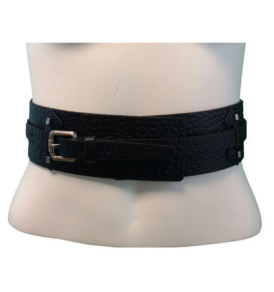 Kooba Black Genuine Leather Wide Belt Women's Size Large 30-34""
