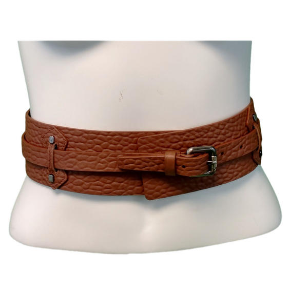 "Kooba Tan Genuine Leather Wide Belt Women's Size 28-32"" Medium"