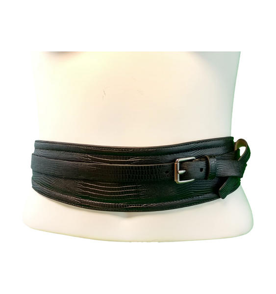 "Nanette Lepore Black Buckle Cinch Style Belt Size Small Fits 28"" + Stretch"