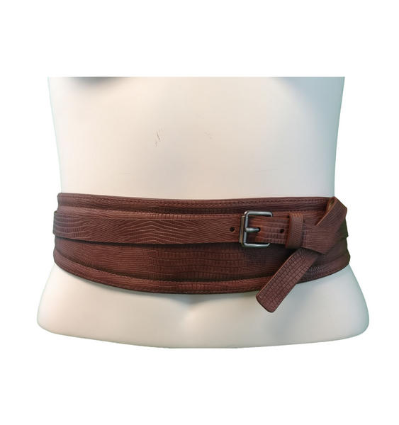 "Nanette Lepore Brown Buckle Cinch Style Belt Size Small/Medium Fits 28"" +"