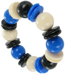 West Germany Blue Black Beaded Bracelet