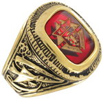 Men's Gold Tone Red Glass Knights Of Columbus Ring Sz 12