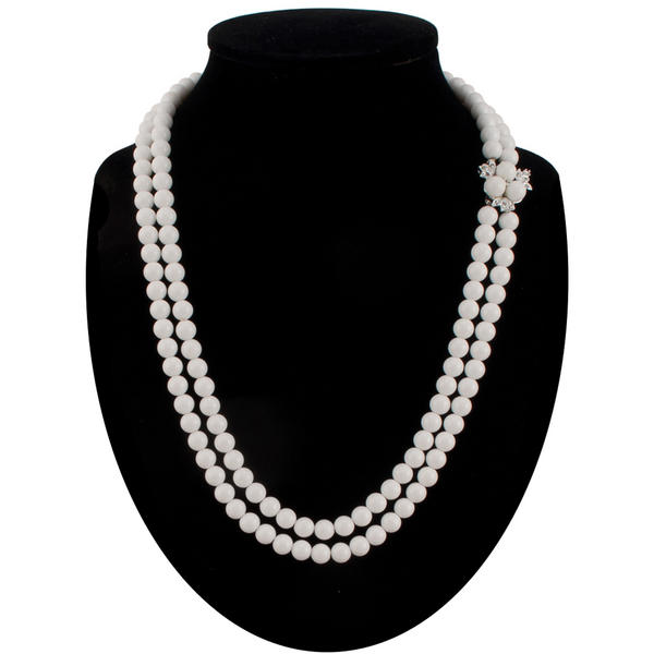 White Lucite Multistrand Beaded Necklace Gatsby Flapper Costume Accessory