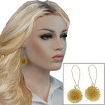 Pierced Earrings Bristle Ball Dangle Gold Tone 2 1/2""