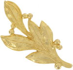 Gold Tone Large Leaf and Berry Pin Brooch