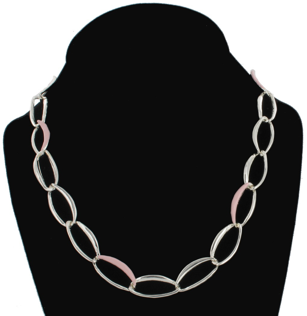 Big Link Silver Tone Pink Enamel Accent Oversized Chain Necklace