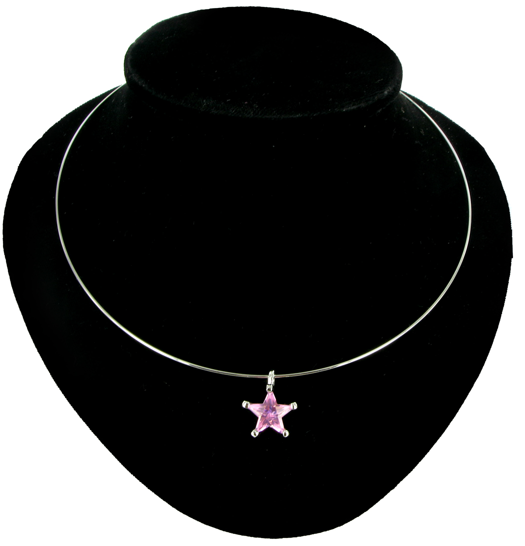 Necklace Choker Collar Big Jewel Pink Star Crystal Silver Tone