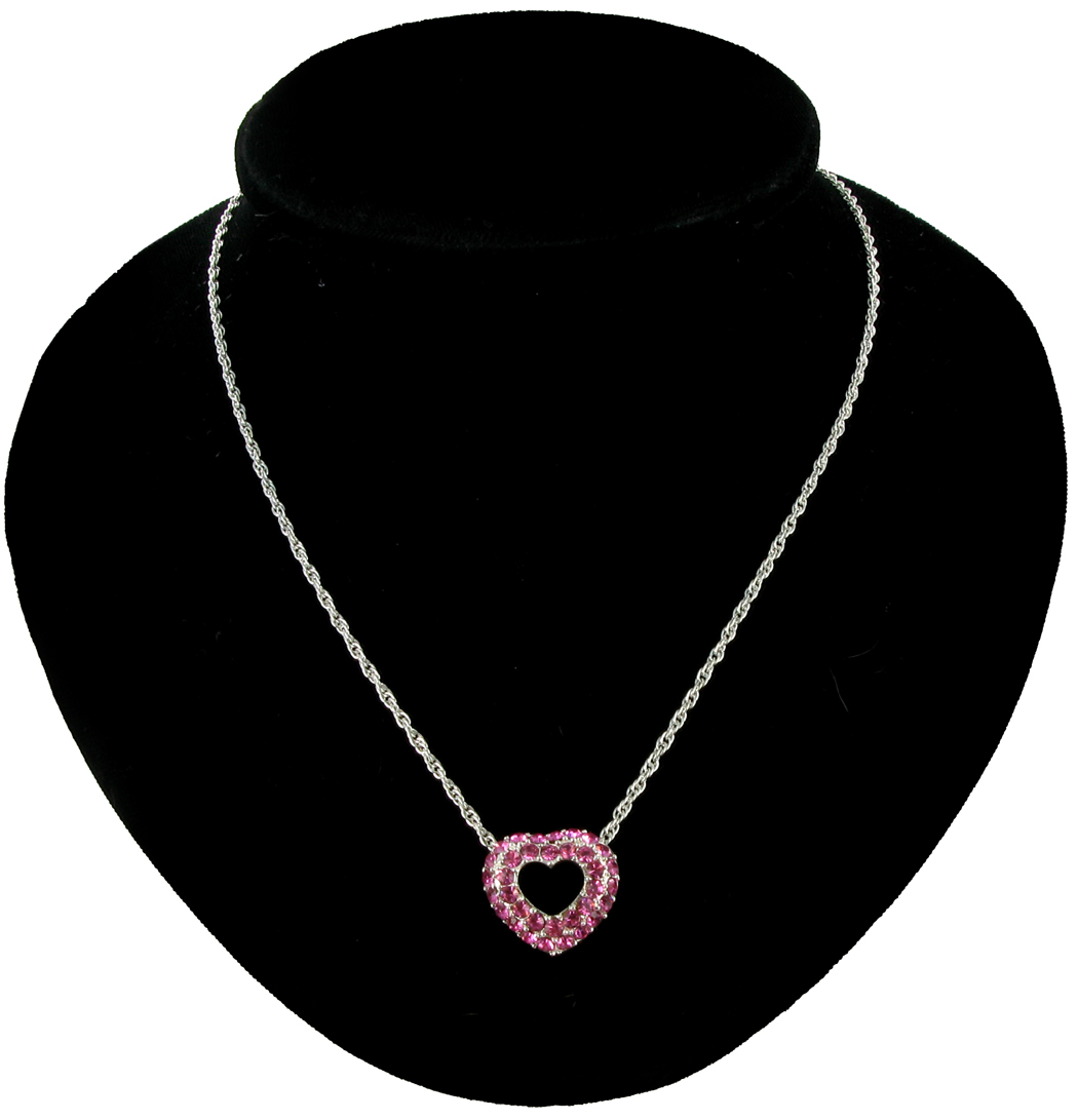 Necklace Pendant Pink Austrian Crystal Two Layer Heart