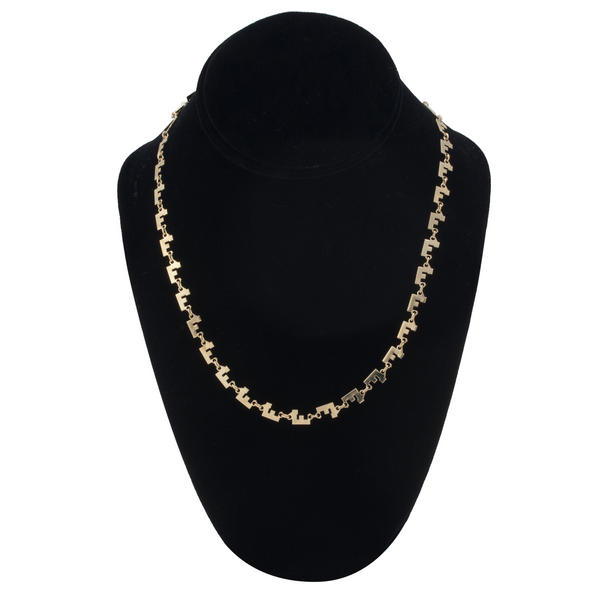 "Gold Tone Chain Link Initial Necklace ""F"""