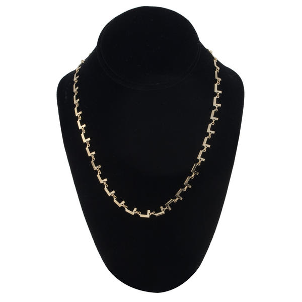 "Gold Tone Chain Link Initial Necklace ""L"""