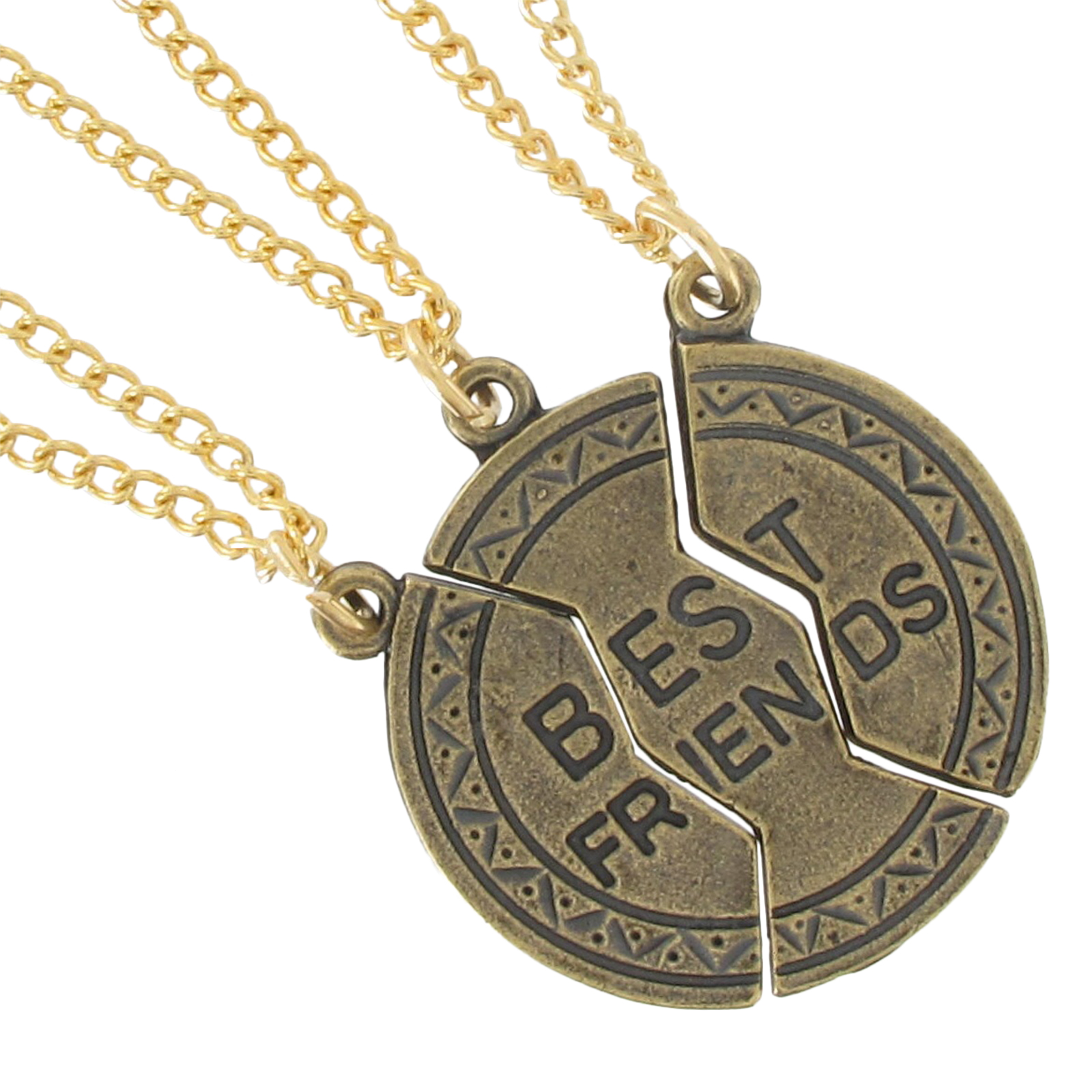 best friend jewelry for 3 pendant bff necklace set 3 part best friends gold tone ebay 8686