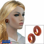 Italian Marbled Brown Tones Plastic Clip On Hoop Earrings