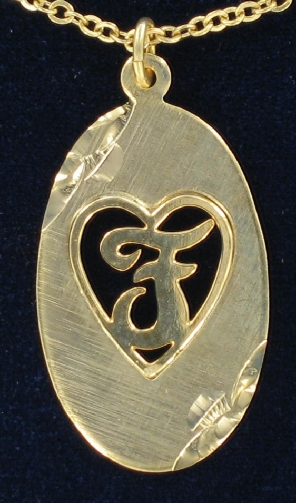 "Heart Gold Tone Initial Letter Pendant Necklace ""F"""