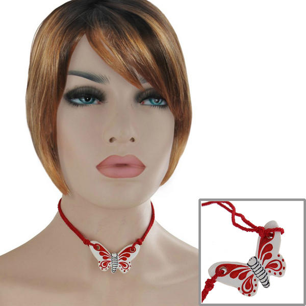 Vintage Choker Red Ceramic Butterfly Pendant Necklace