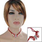 Vintage Choker Red Ceramic Butterfly Pendant Necklace Thumbnail 1