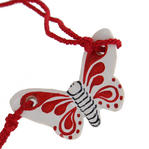 Vintage Choker Red Ceramic Butterfly Pendant Necklace Thumbnail 3